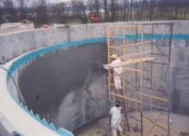 Spray being applied at a water treatment plant