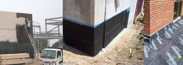 Photo collage of various commercial waterproofing